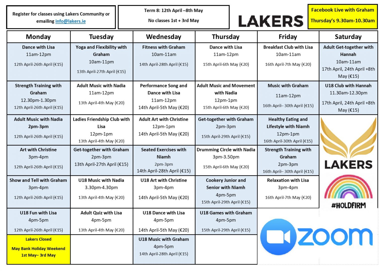 Timetable - April 12th - 8th May